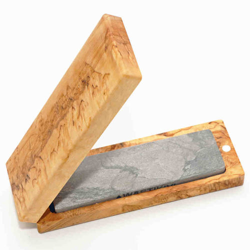 Planer blade sharpener with curly birch box